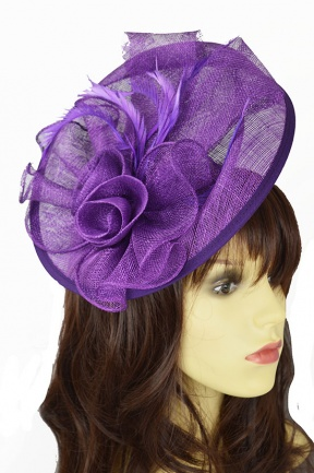 Purple Large Hat Fascinator with Hairband & Clip