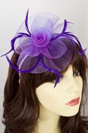 Purple Crinoline Flower and Feather Hairband Fascinator