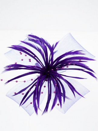 Purple Feather, Bead and Ribbon Clip Fascinator