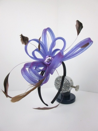 Purple Looped Mesh Ribbon Hairband Fascinator with  Feathers