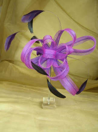 Purple Mesh Ribbon Bow and Feather Comb Fascinator