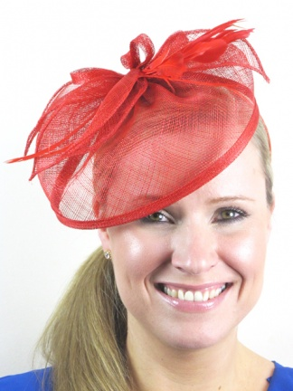 Red Sinamay Hairband Hat Fascinator