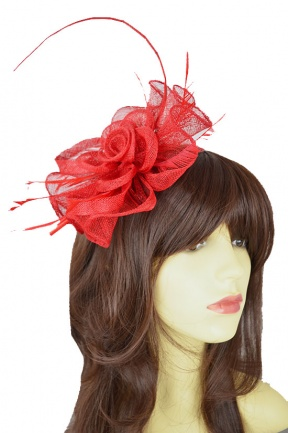 Red Flower & Quill Large Hairband & Clip Fascinator