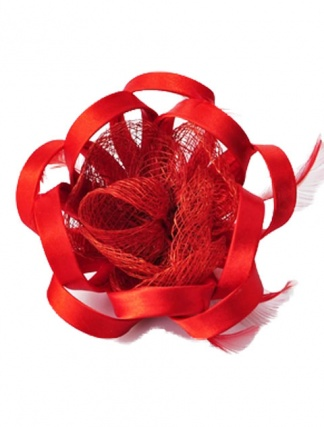 Bright Red Flower Fascinator with Clip & Brooch Pin