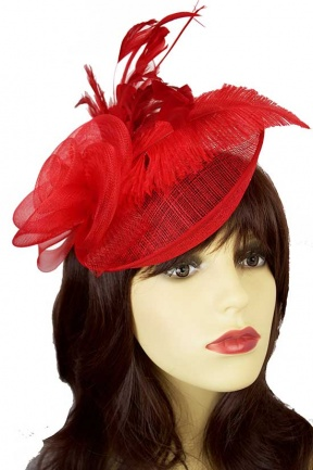 Red Saucer Hat Fascinator with Hairband