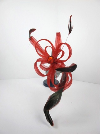 Red Looped Hairband Fascinator with Feathers & Sparkling Stone