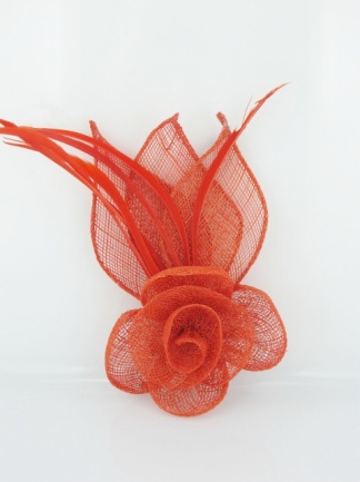 Red Sinamay and Feather Fascinator