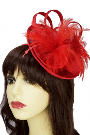 Red Small Hat with Hairband and Clip