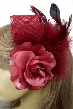 Dark Pink Rose & Ribbon Clip Fascinator with Brooch Pin