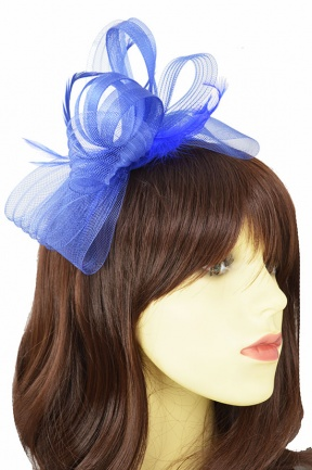 Royal Blue Bow & Feather Hairband & Clip Fascinator