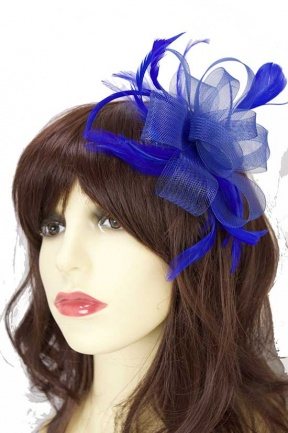 Royal Blue Crinoline Bow Comb Fascinator