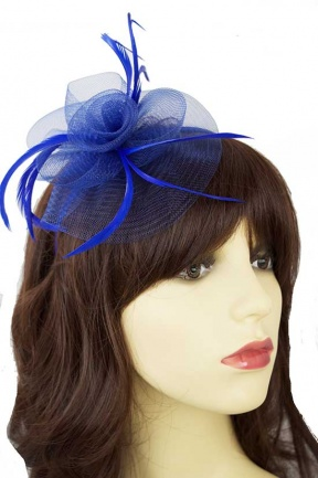 Royal Blue Crinoline Swirl and Feather Hairband Fascinator