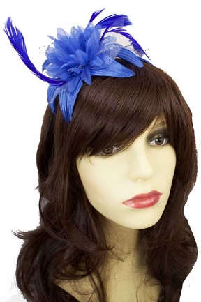 Royal Blue Flower & Feather Hairband Fascinator