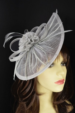 Silver Grey Large Contemporary Style Hairband Fascinator