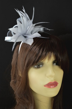Silver Feather Flower & Satin Loop Hairband Fascinator