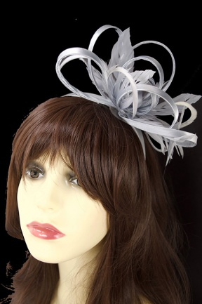 Silver Satin Loop & Feather Hairband Fascinator