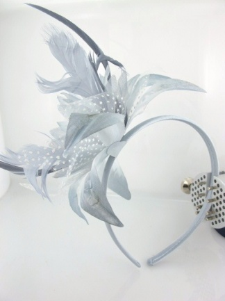 Silver Grey Flower and Feather Hairband Fascinator