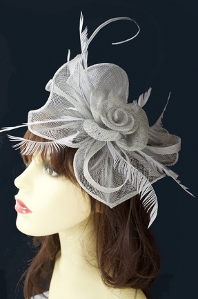 Silver Grey Flower & Quill Hairband or Clip Fascinator