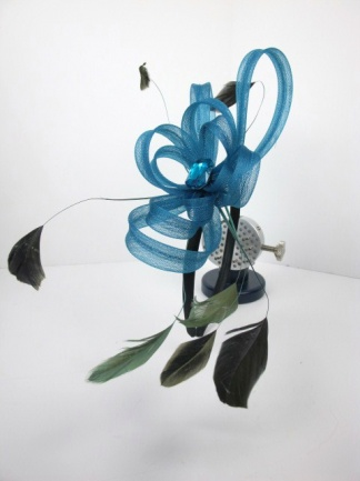 Blue Looped Ribbon Hairband Fascinator with Feathers