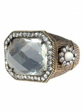 Large Rectangular Clear Stone and Burnished Gold Fashion Ring