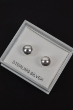 Sterling Silver 8mm Silver Ball Earrings with Gift Box