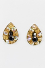 Amber and Black Tear Drop Shape Stud Earrings
