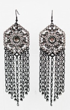 Black and Crystal Very Long Fashion Earrings