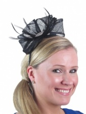 Black & Crystal Detail Bow & Feather Hairband Fascinator