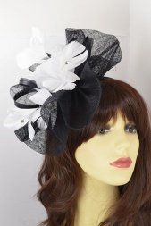 Black & White Large Sinamay Hat Fascinator with Hairband