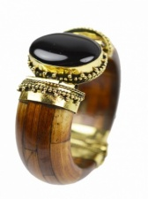 Brown, Brass & Black Stone Bone Ethnic Bangle