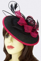 Black & Fuchsia Pink Saucer Hat Clip Fascinator Hat
