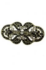 Pretty Vintage Style Gold Barrette with Black Stones