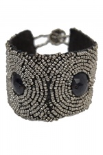 Black & Grey Beaded Cuff/Bracelet