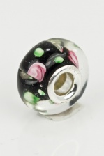 Black, Pink & Green Glass Charm Bead with Sterling Silver Core