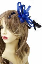 Royal Blue Mesh Ribbon & Feather Fascinator