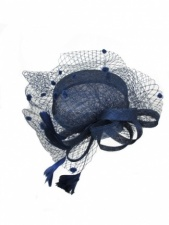 Dark Navy Blue Pill Box Hat Fascinator with Birdcage Veil