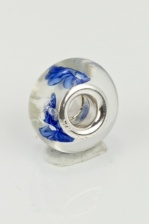 Blue Flower Designer Style Glass Bead with 925 Silver