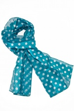 Teal Blue & White Spot Satin Stripe Ladies Scarf