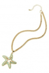 Gold & Blue Colour Starfish Pendant Necklace