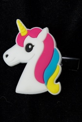 Kids Brightly Coloured Unicorn Head Hair Clip
