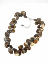 Brown Shell & Acrylic Stone Necklace