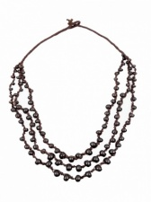 Brown Ethnic Layered Bead Necklace