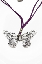 Butterfly Pendant with Purple Suede Cord Necklace