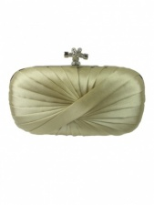 Champagne Gold Satin Pleated Hard Shell Clutch Bag