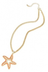 Gold & Coral Colour Starfish Pendant Necklace