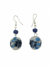 Blue & White Ceramic Dangly Earrings
