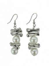 Faux Pearl, Silver & Crystal Fashion Earrings
