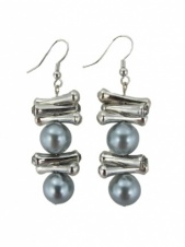 Faux Grey Pearl with Silver & Crystal Fashion Earrings