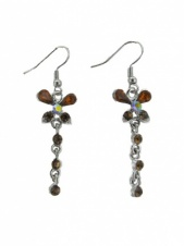 Brown Crystal Butterfly Dangle Earrings