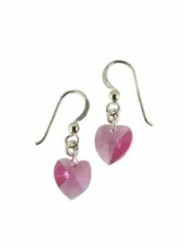 Pink Crystal Heart Earrings with 925 Silver